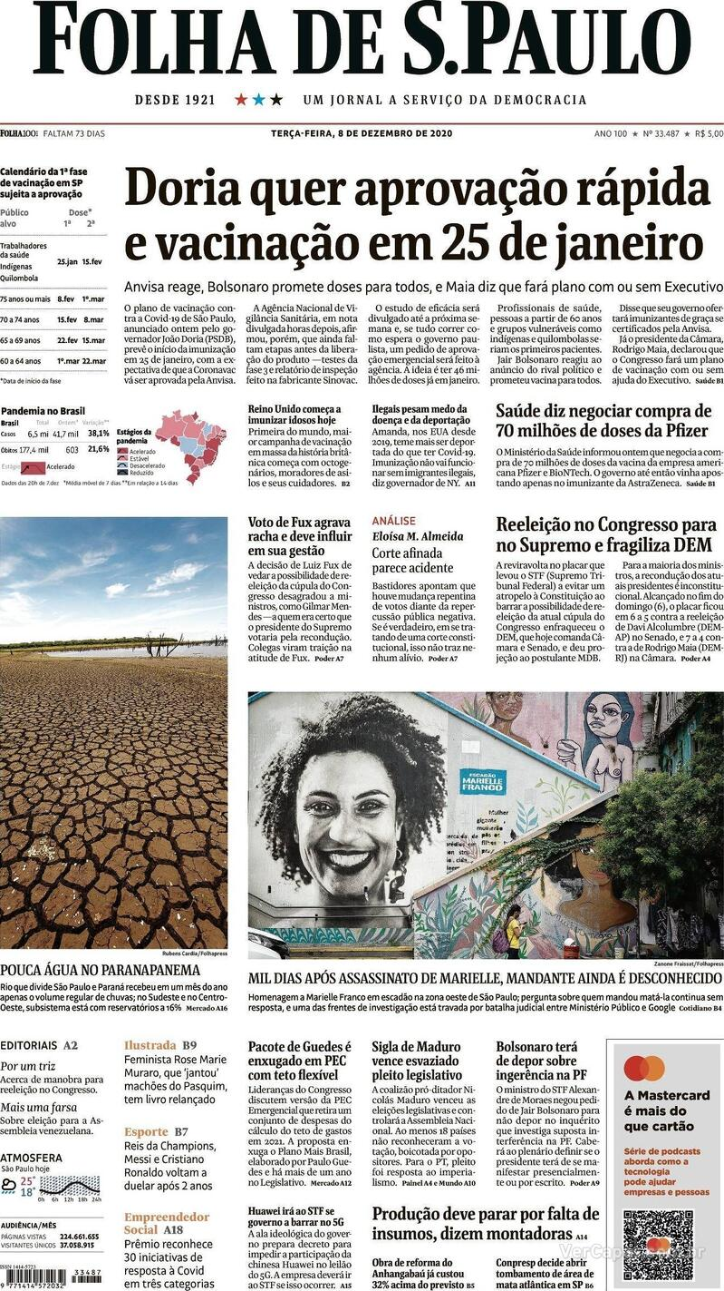 Capa do jornal Folha de S.Paulo 08/12/2020