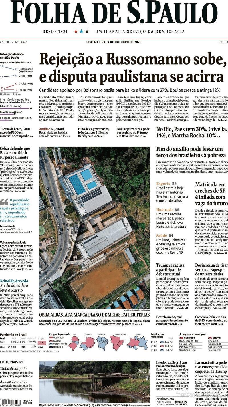 Capa do jornal Folha de S.Paulo 09/10/2020