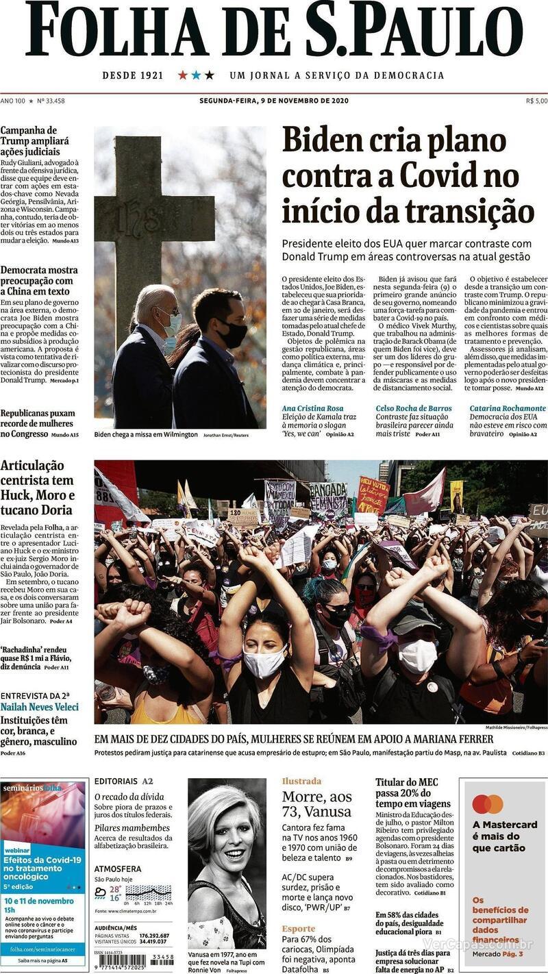 Capa do jornal Folha de S.Paulo 09/11/2020
