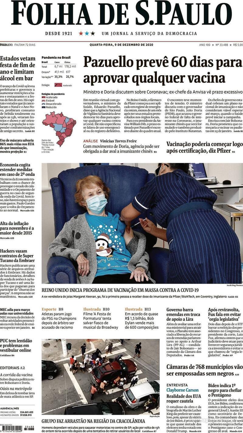 Capa do jornal Folha de S.Paulo 09/12/2020