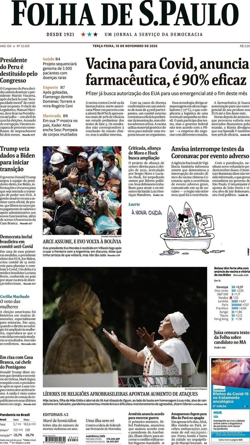 Capa do jornal Folha de S.Paulo 10/11/2020