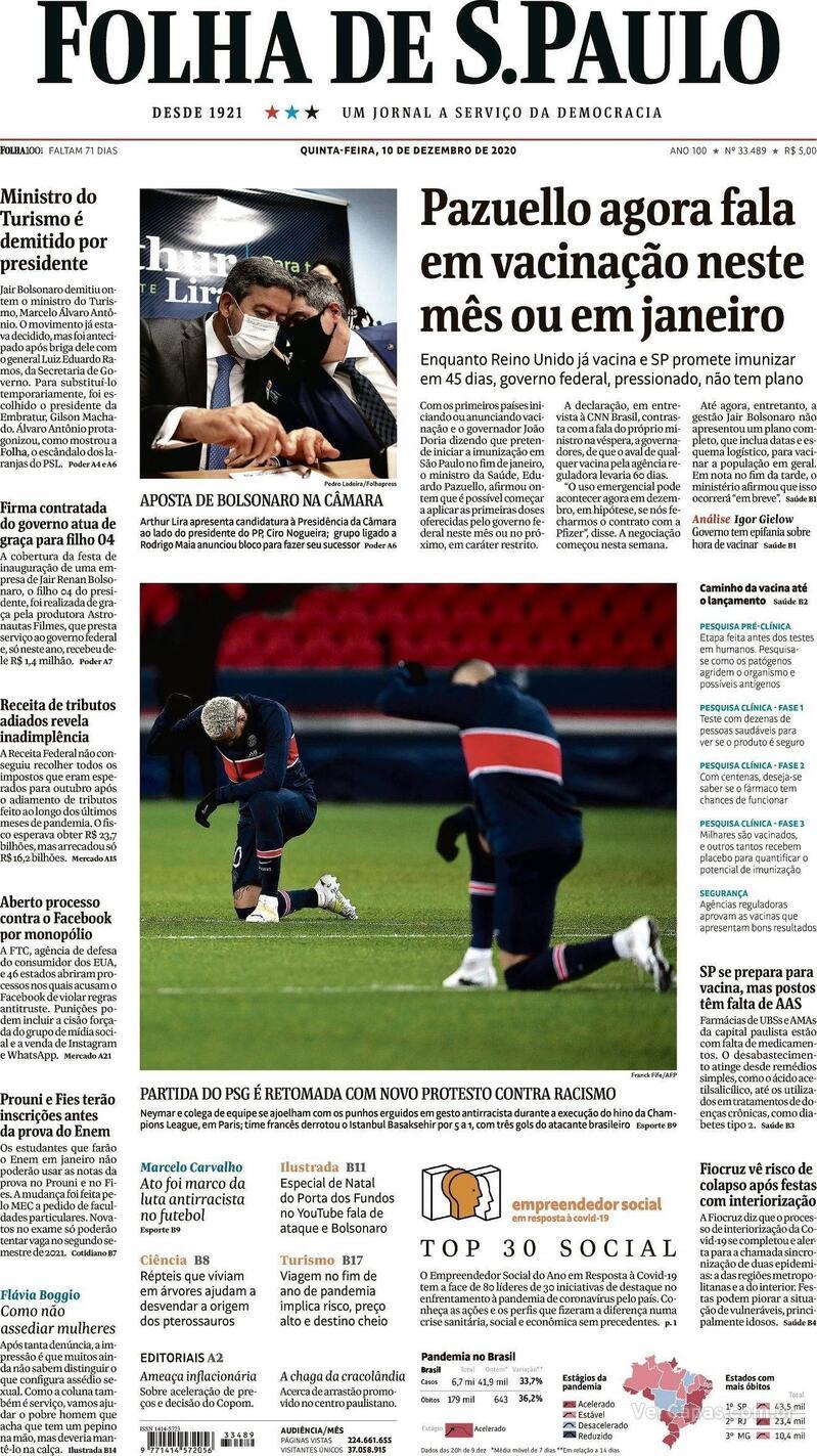 Capa do jornal Folha de S.Paulo 10/12/2020