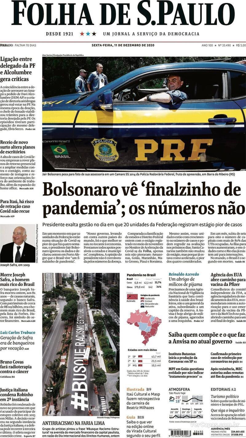 Capa do jornal Folha de S.Paulo 11/12/2020