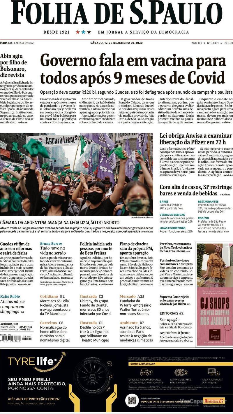 Capa do jornal Folha de S.Paulo 12/12/2020
