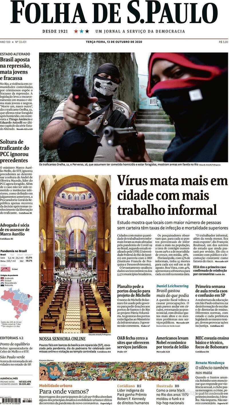 Capa do jornal Folha de S.Paulo 13/10/2020