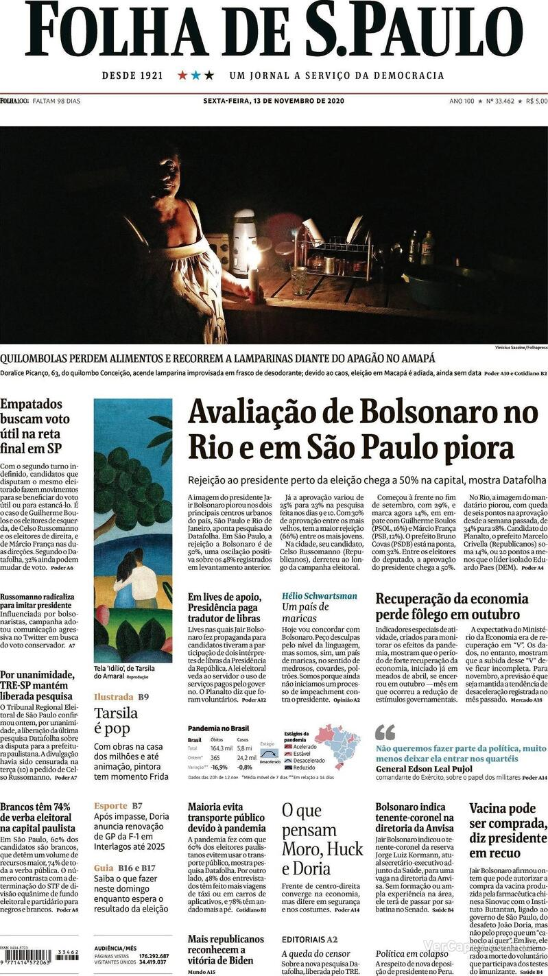 Capa do jornal Folha de S.Paulo 13/11/2020