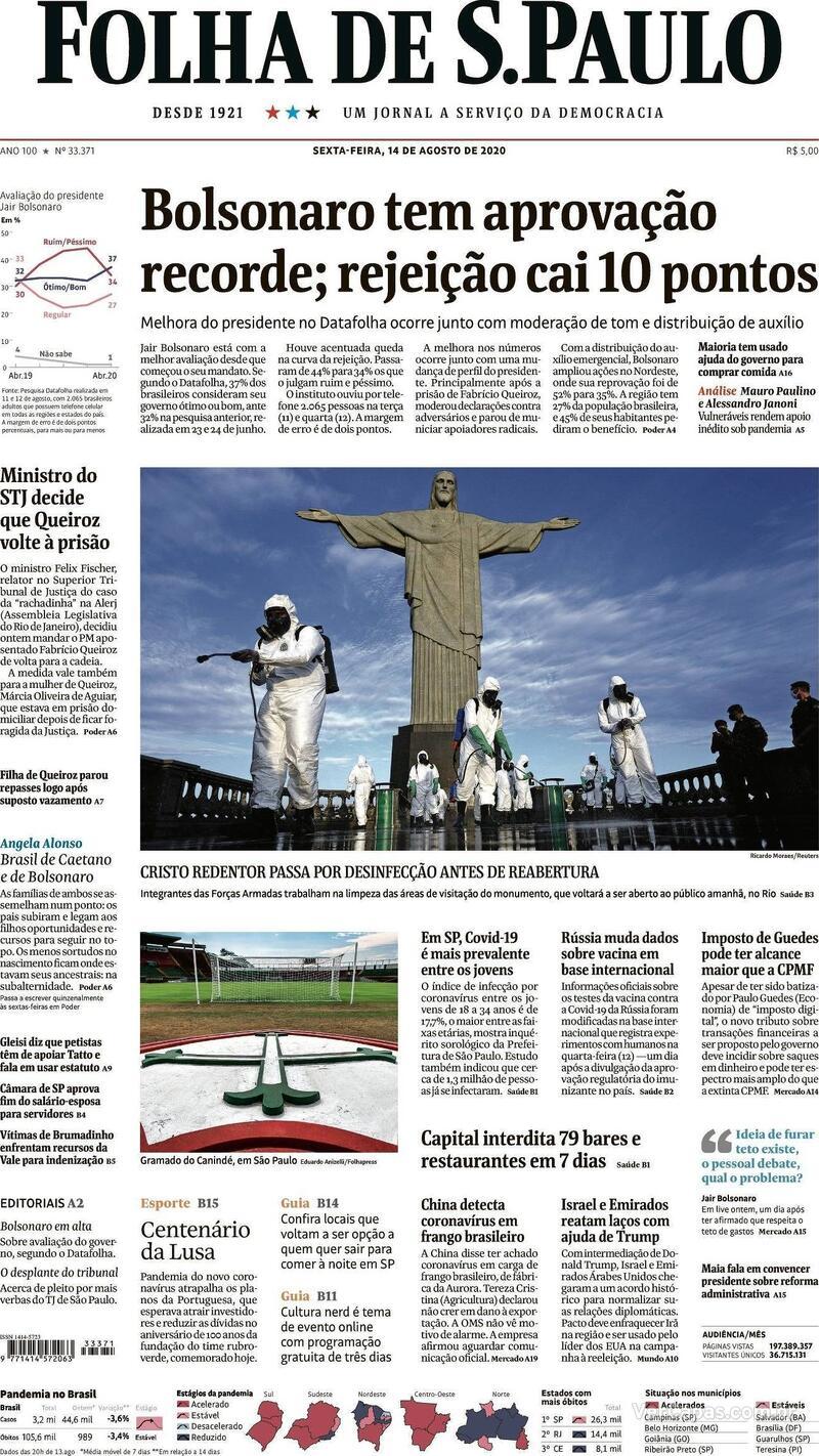 Capa do jornal Folha de S.Paulo 14/08/2020