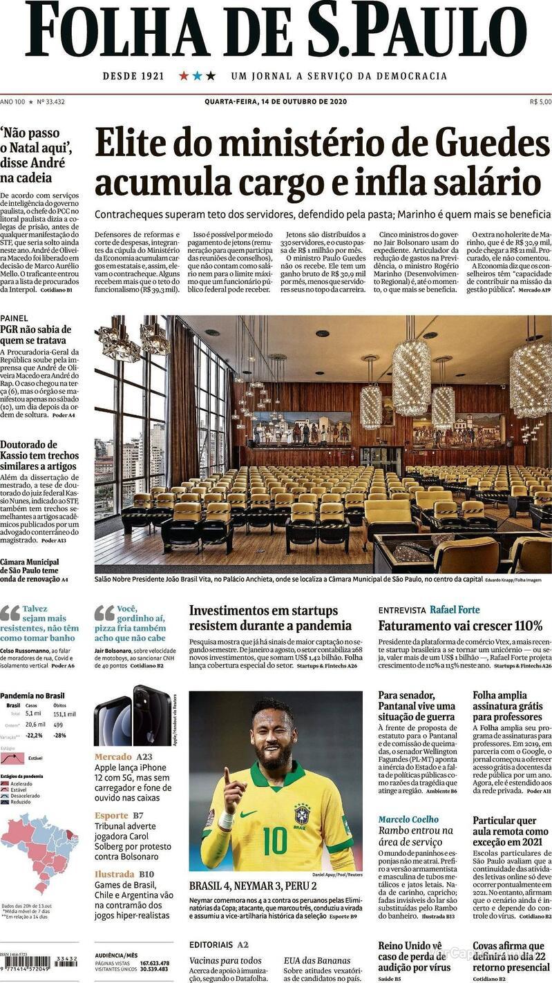 Capa do jornal Folha de S.Paulo 14/10/2020