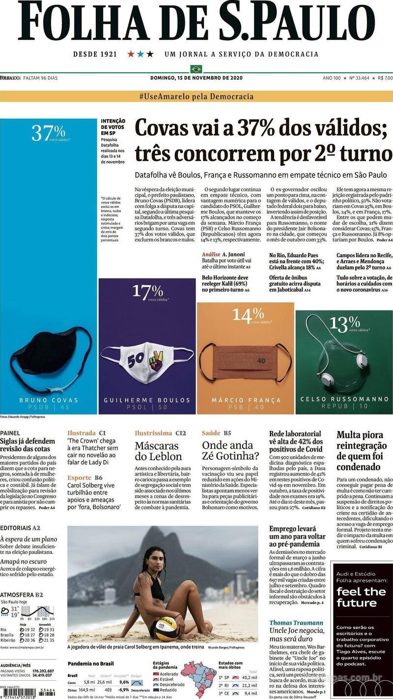 Capa do jornal Folha de S.Paulo 15/11/2020
