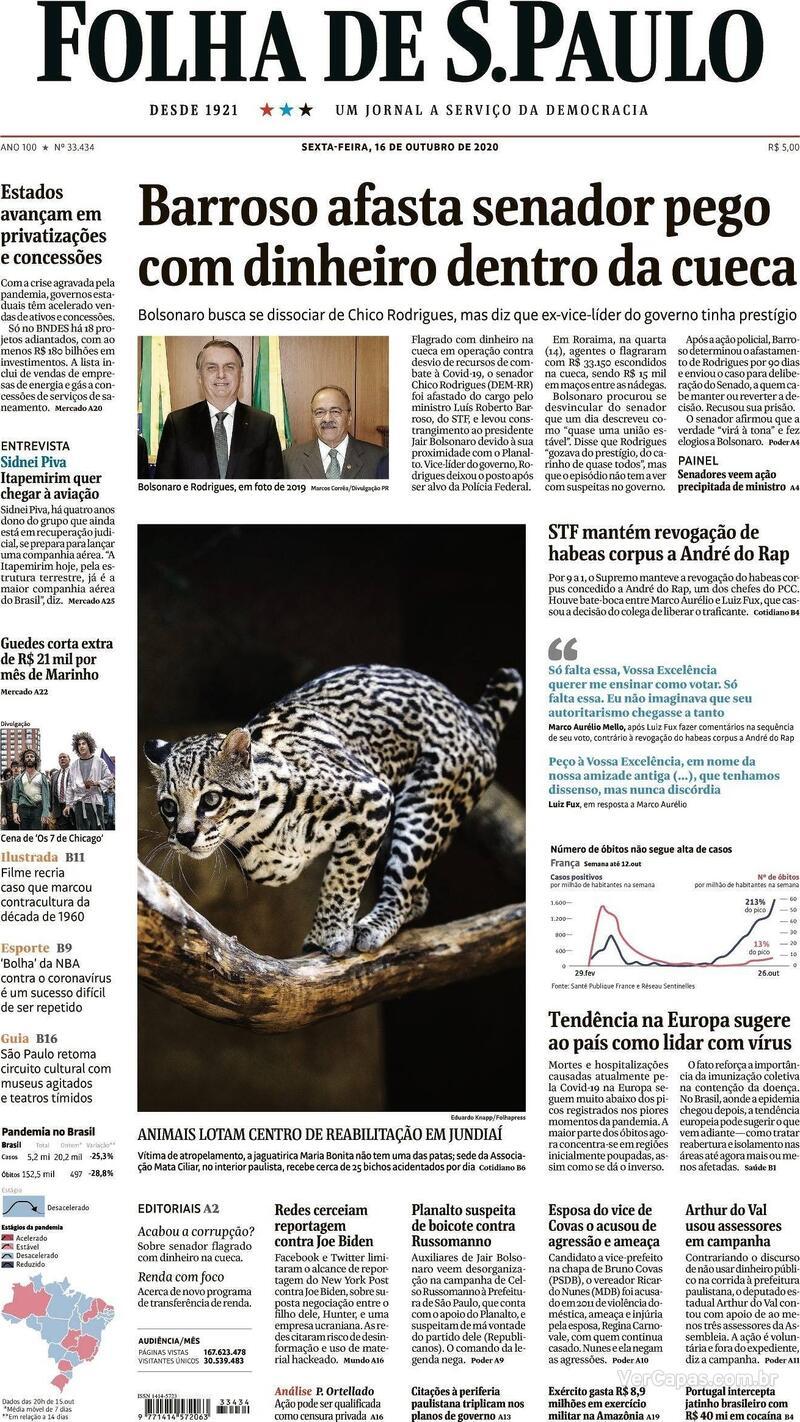 Capa do jornal Folha de S.Paulo 16/10/2020
