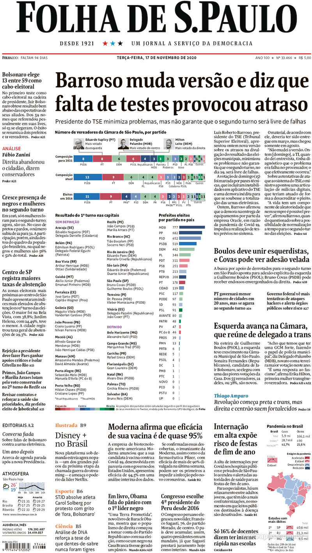 Capa do jornal Folha de S.Paulo 17/11/2020