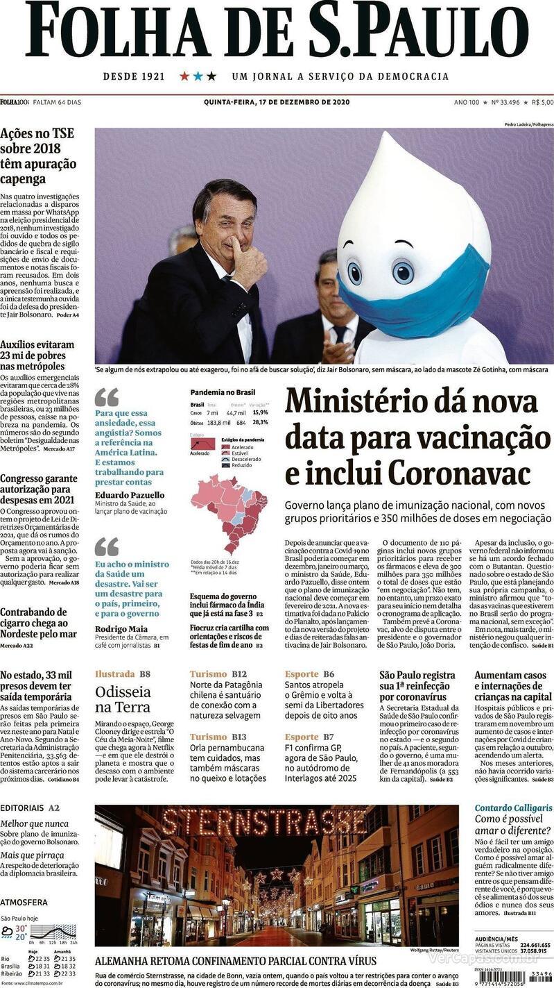 Capa do jornal Folha de S.Paulo 17/12/2020