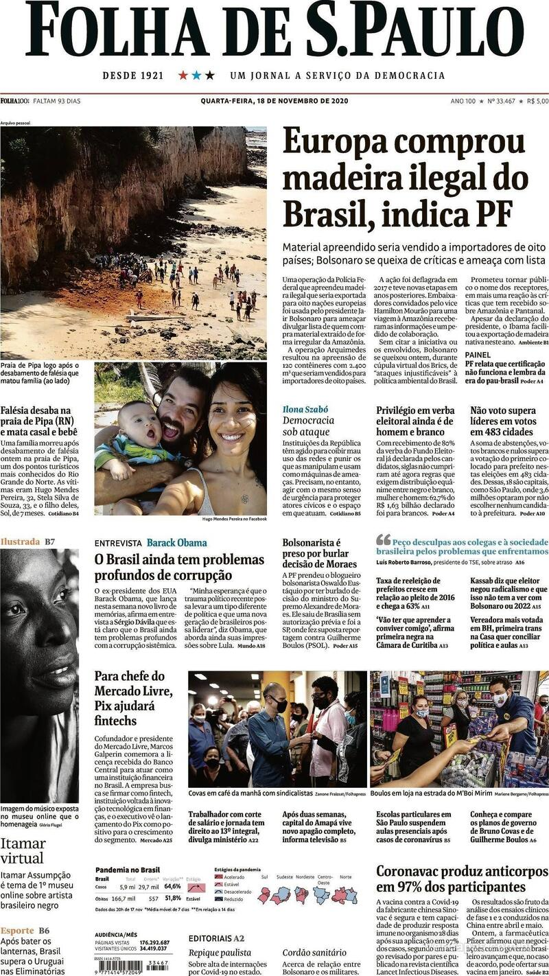 Capa do jornal Folha de S.Paulo 18/11/2020