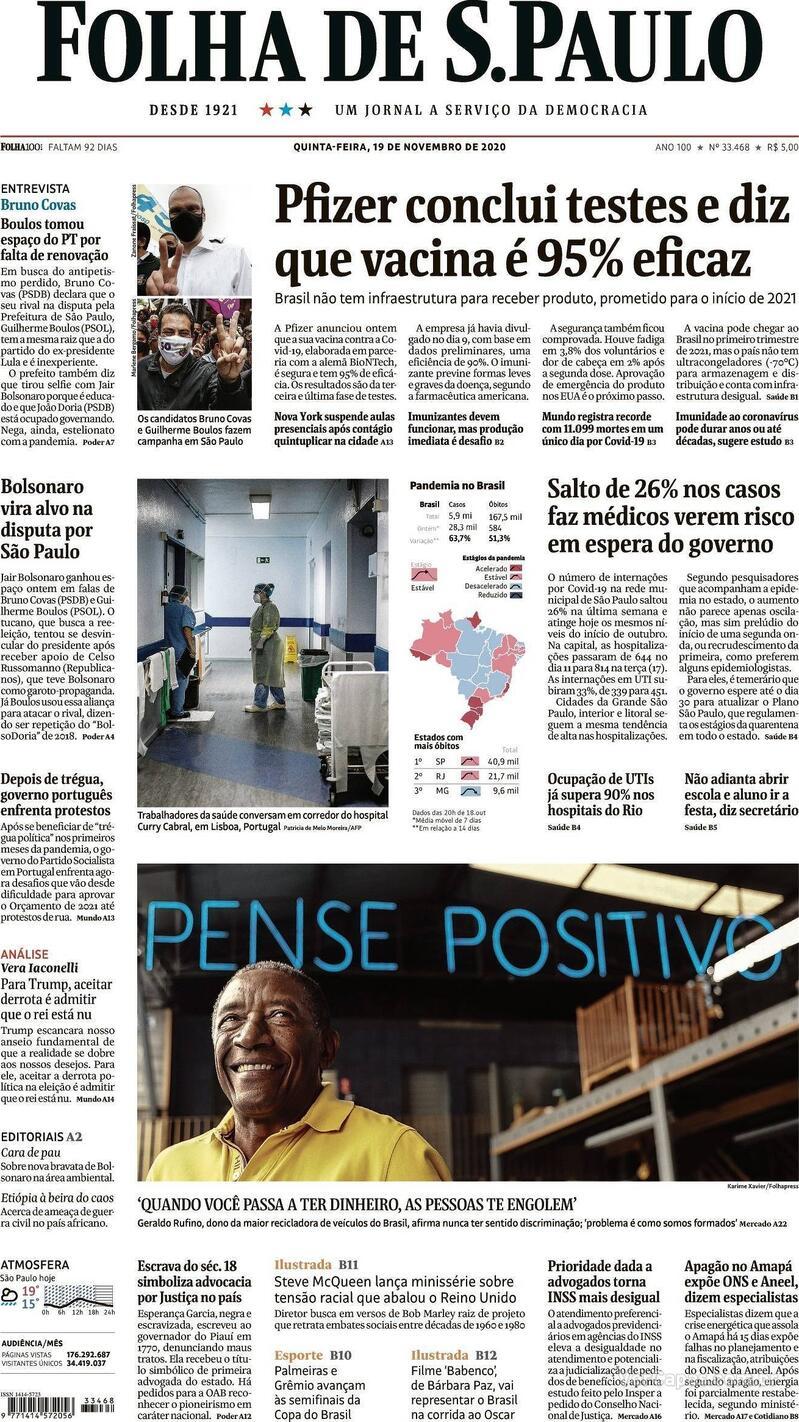 Capa do jornal Folha de S.Paulo 19/11/2020