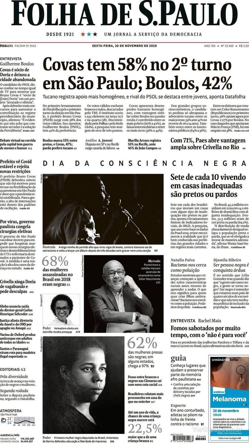 Capa do jornal Folha de S.Paulo 20/11/2020