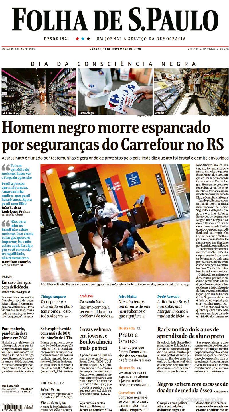 Capa do jornal Folha de S.Paulo 21/11/2020