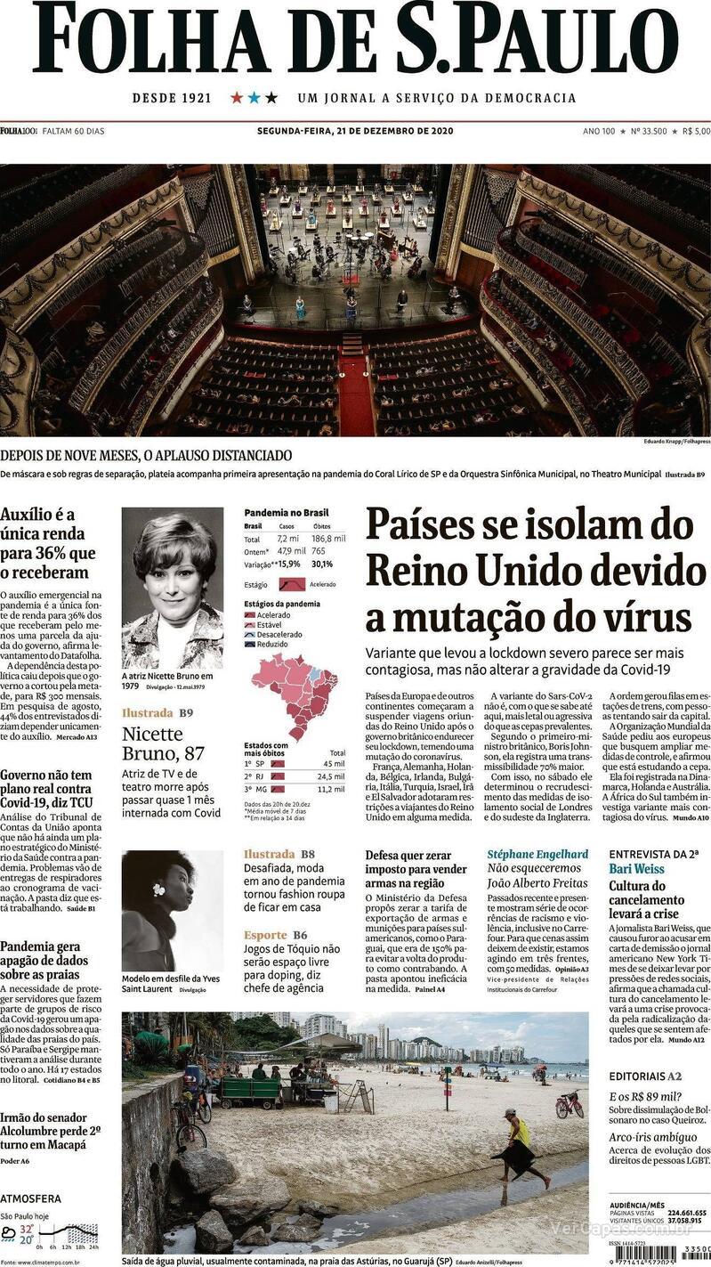 Capa do jornal Folha de S.Paulo 21/12/2020