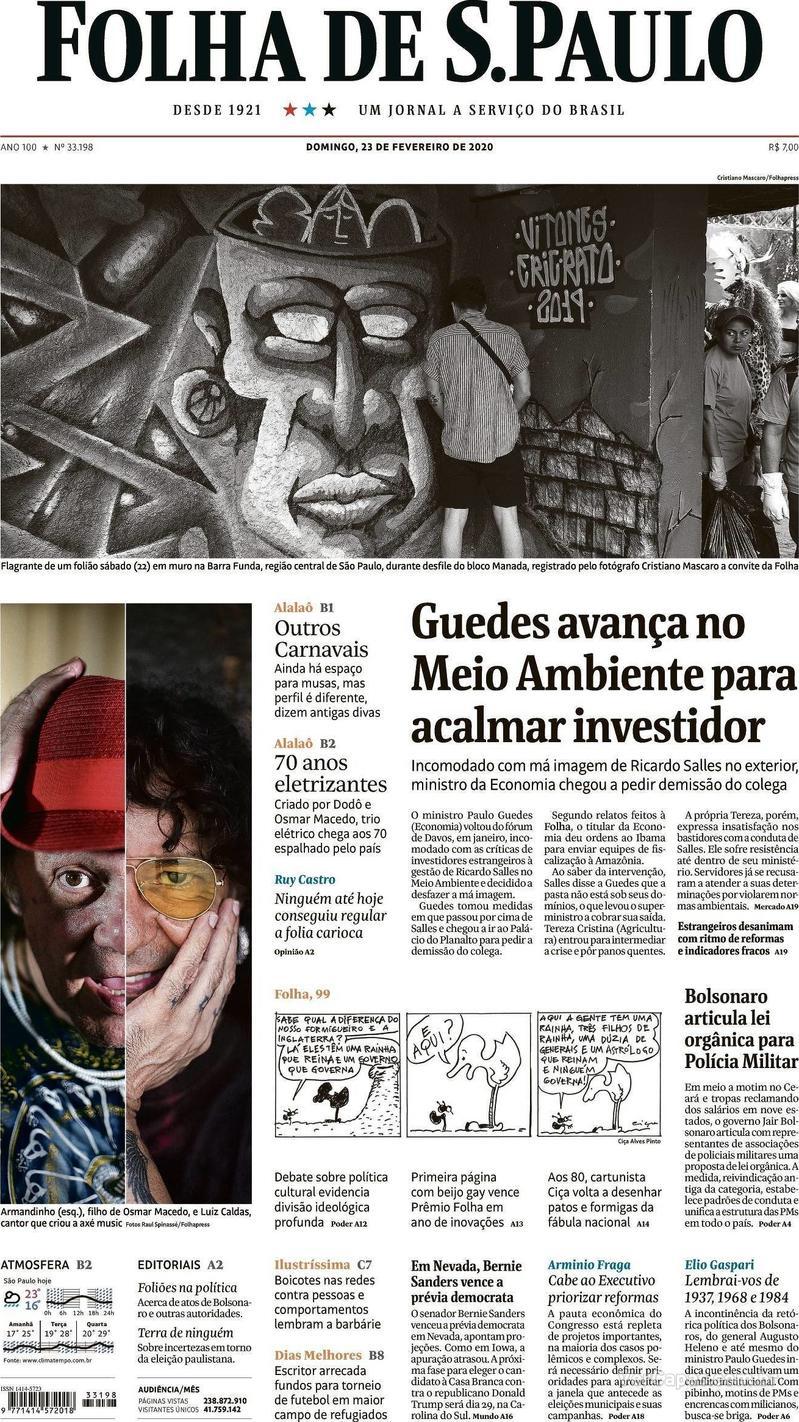 Capa jornal Folha de S.Paulo