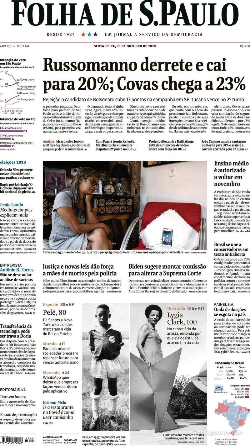Capa do jornal Folha de S.Paulo 23/10/2020