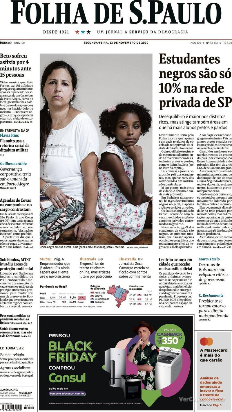 Capa do jornal Folha de S.Paulo 23/11/2020
