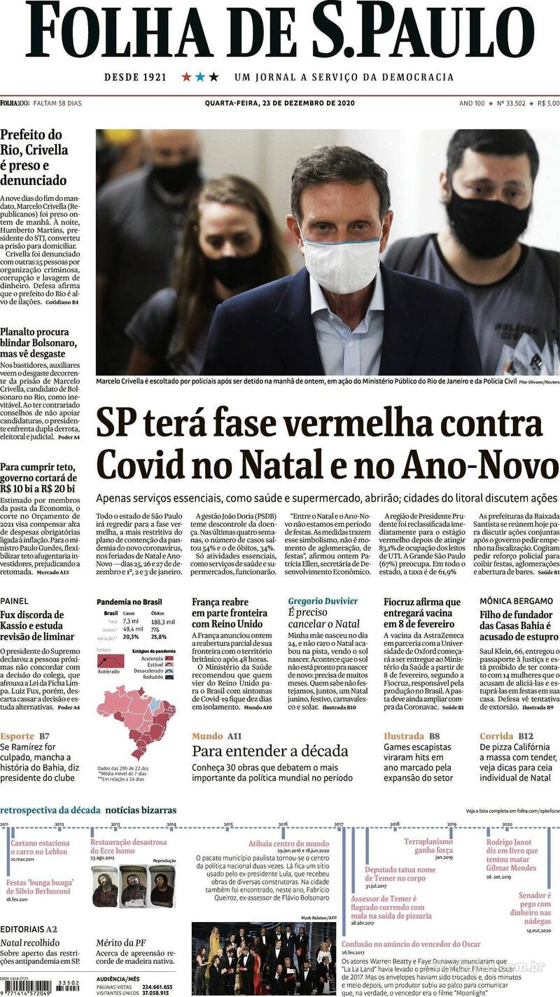 Capa do jornal Folha de S.Paulo 23/12/2020