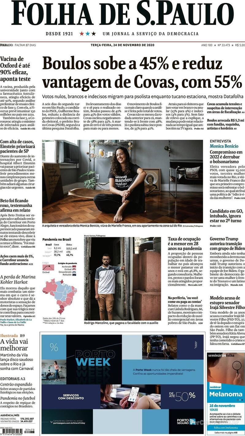 Capa do jornal Folha de S.Paulo 24/11/2020