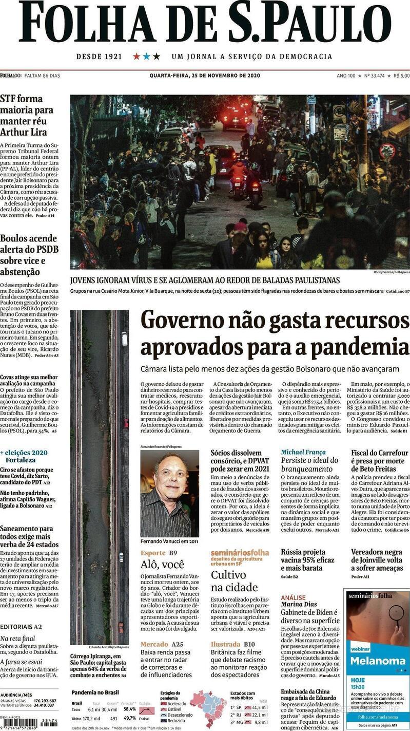 Capa do jornal Folha de S.Paulo 25/11/2020
