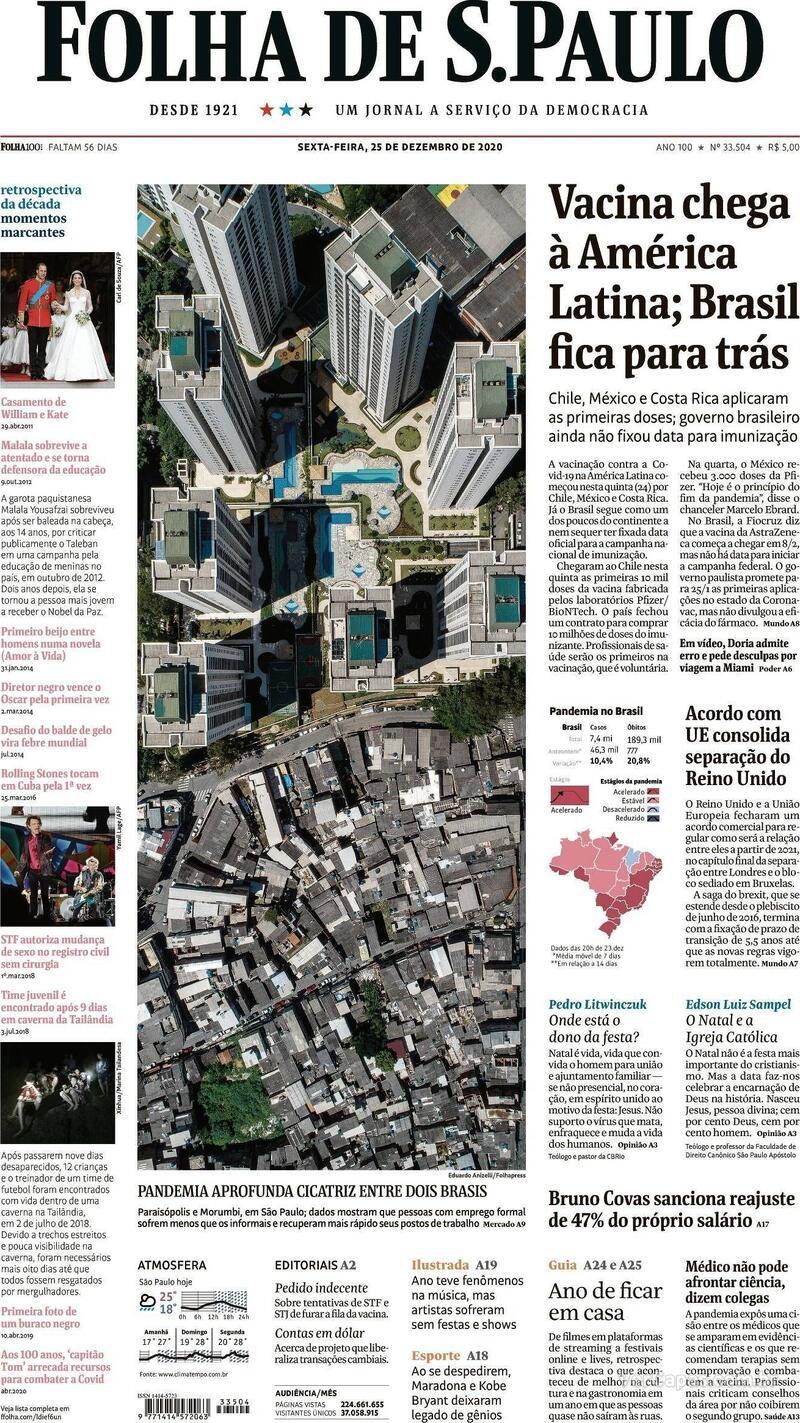 Capa do jornal Folha de S.Paulo 25/12/2020