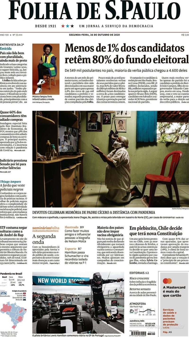 Capa do jornal Folha de S.Paulo 26/10/2020