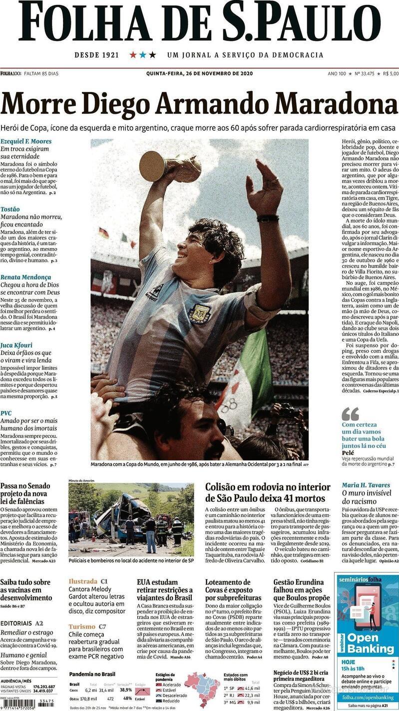 Capa do jornal Folha de S.Paulo 26/11/2020