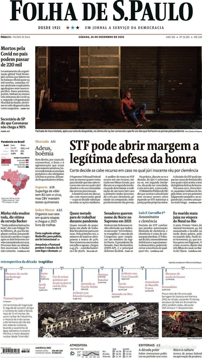 Capa do jornal Folha de S.Paulo 26/12/2020
