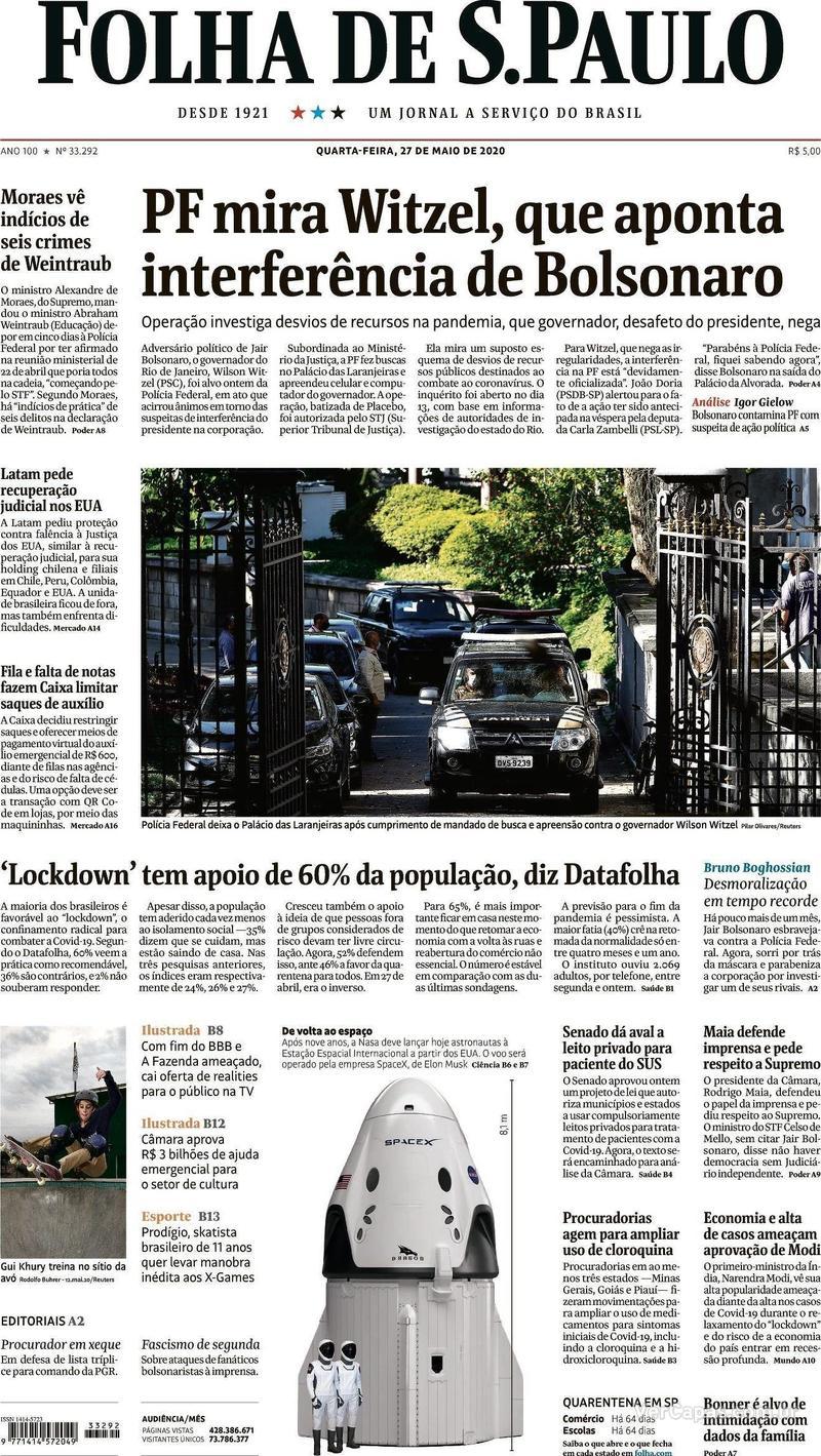 Capa do jornal Folha de S.Paulo 27/05/2020