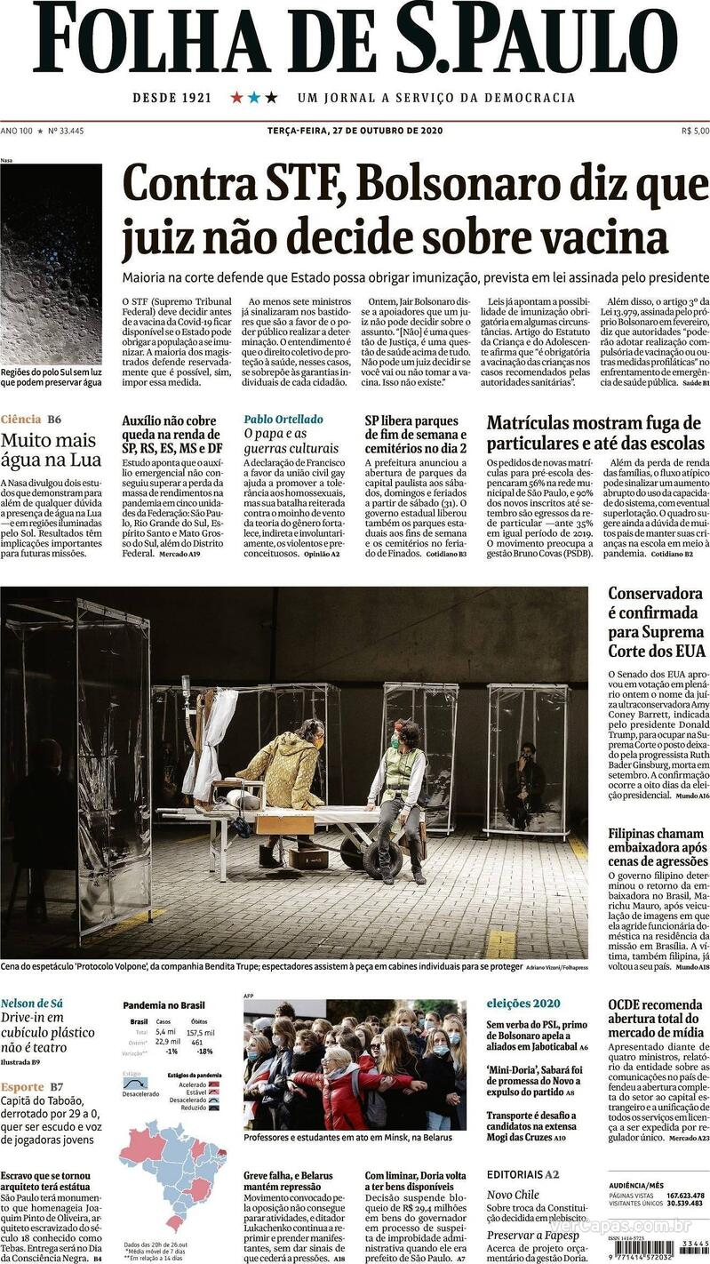 Capa do jornal Folha de S.Paulo 27/10/2020