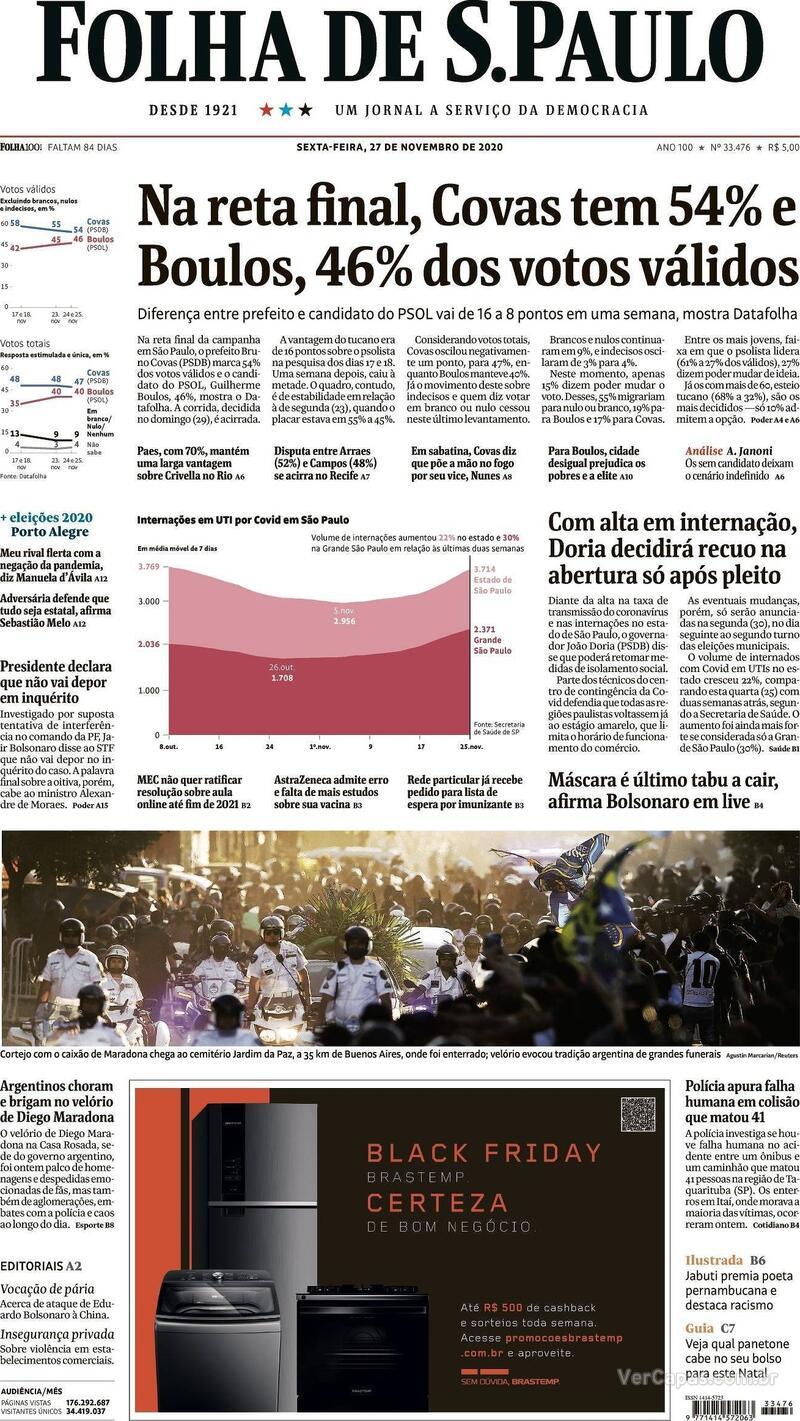 Capa do jornal Folha de S.Paulo 27/11/2020