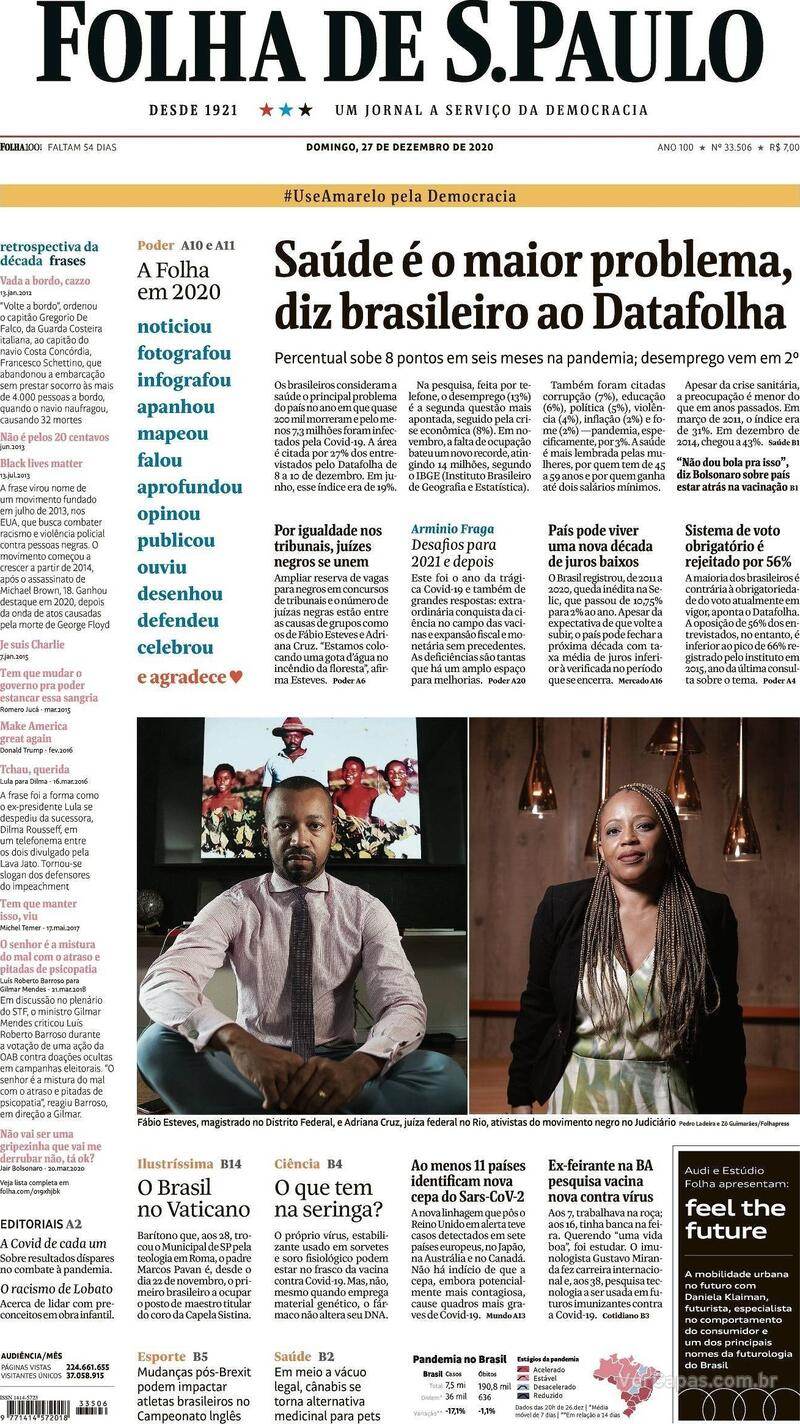 Capa do jornal Folha de S.Paulo 27/12/2020