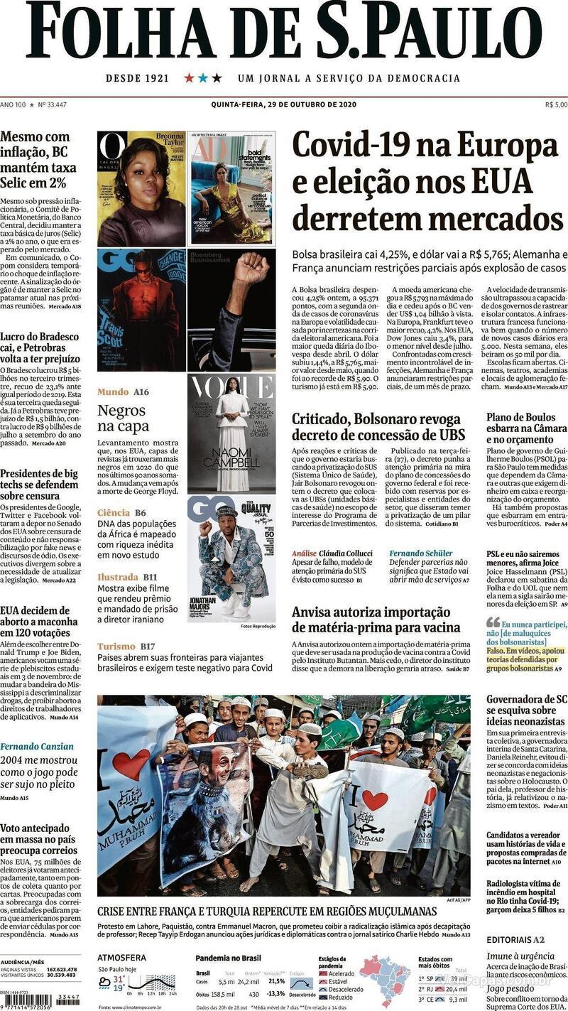 Capa do jornal Folha de S.Paulo 29/10/2020