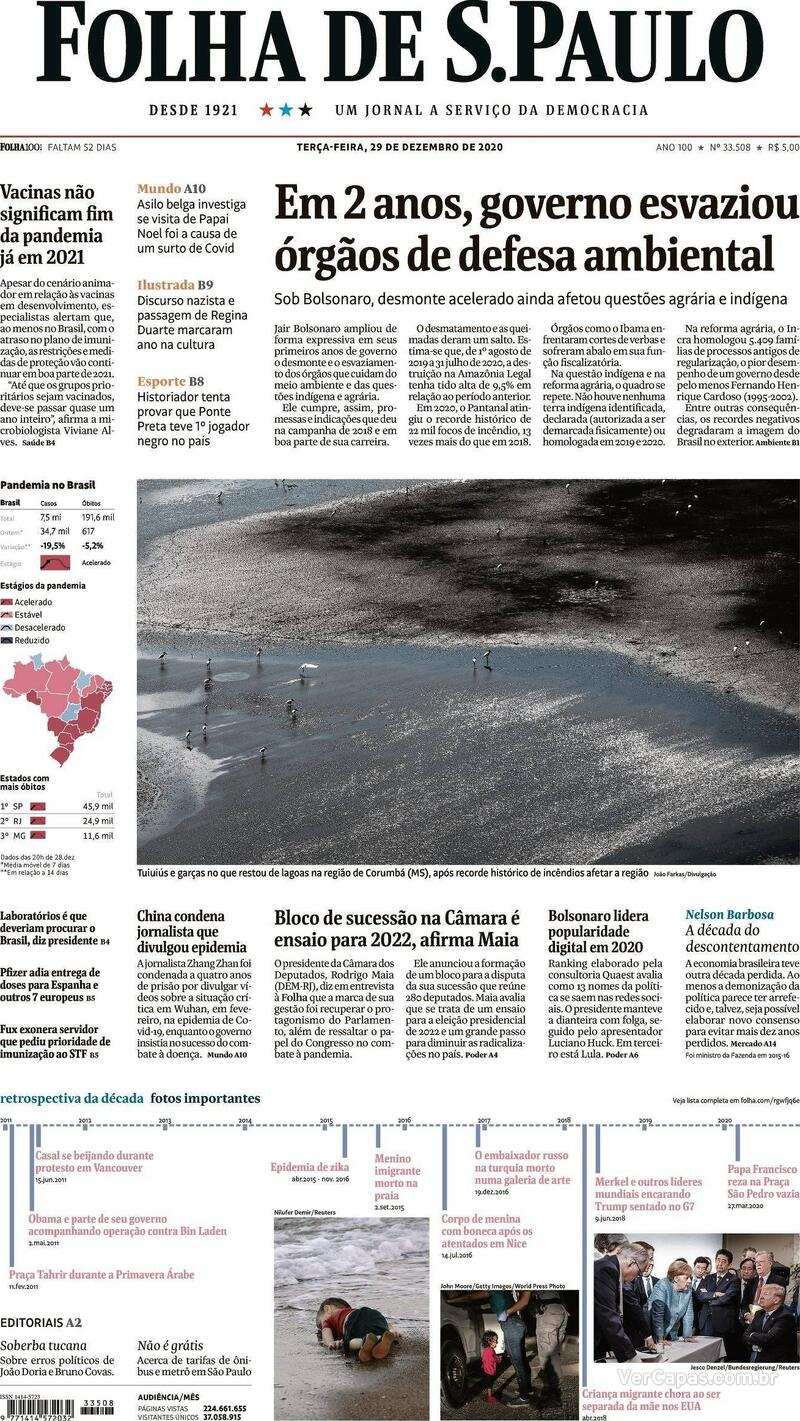 Capa do jornal Folha de S.Paulo 29/12/2020