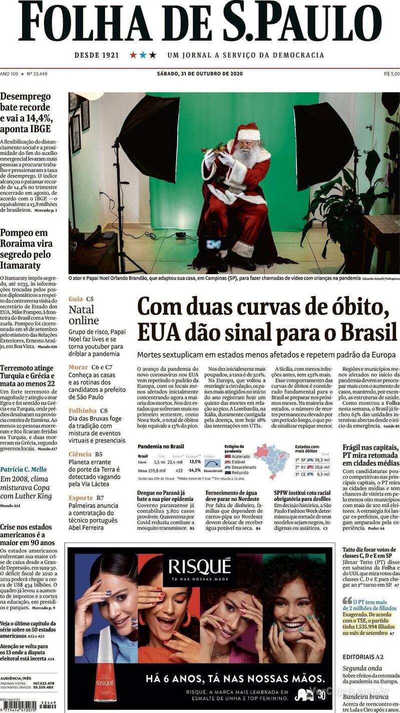 Capa do jornal Folha de S.Paulo 31/10/2020