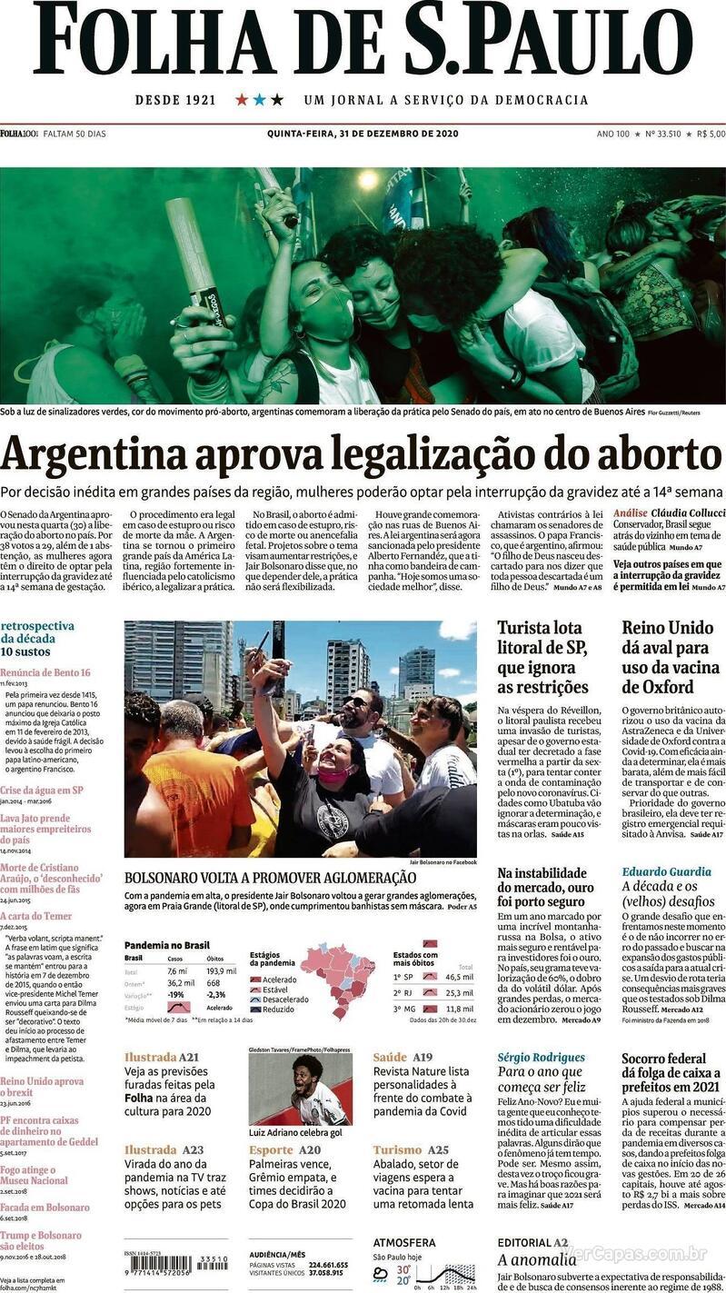 Capa do jornal Folha de S.Paulo 31/12/2020