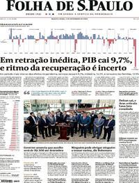 Capa do jornal Folha de S.Paulo 02/09/2020