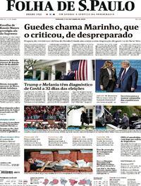 Capa do jornal Folha de S.Paulo 03/10/2020