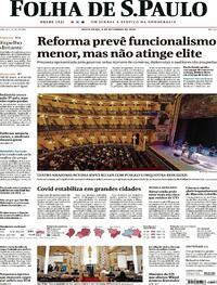 Capa do jornal Folha de S.Paulo 04/09/2020