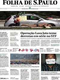 Capa do jornal Folha de S.Paulo 07/09/2020