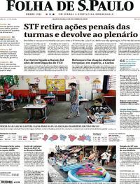 Capa do jornal Folha de S.Paulo 08/10/2020