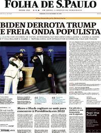 Capa do jornal Folha de S.Paulo 08/11/2020