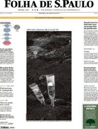 Capa do jornal Folha de S.Paulo 09/08/2020