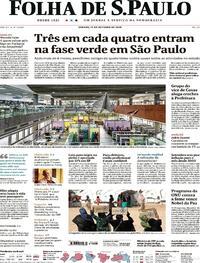Capa do jornal Folha de S.Paulo 10/10/2020