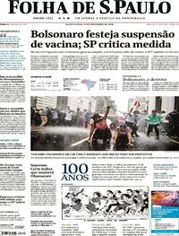 Capa do jornal Folha de S.Paulo 11/11/2020