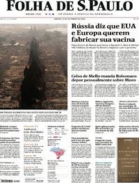 Capa do jornal Folha de S.Paulo 12/09/2020