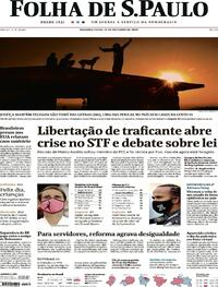 Capa do jornal Folha de S.Paulo 12/10/2020